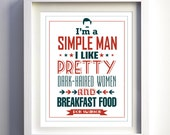 Valentines day gift for him for husband Ron Swanson Parks and Recreation quote I'm a Simple Man Breakfast Parks & Rec funny art