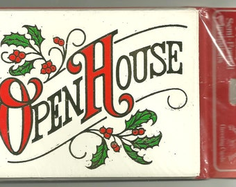 Vintage Christmas Holiday Open House Invitation Party 8 MIP Drawing Board NOS