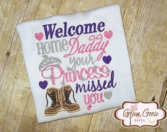 Welcome Home Daddy Embroidered Shirt or Bodysuit - Girls Embroidered Shirt
