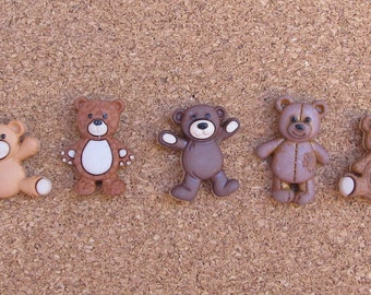 Teddy Bear Push Pins or Magnets