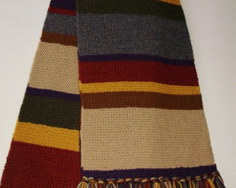 Doctor Who WOOL Season 12-14 Garter Stitch Replica Hand Knit Full Size Scarf Fourth Doctor Tom Baker from Ashlee's Knits Cosplay Md2Order