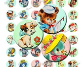 INSTANT DOWNLOAD, Digital Collage Sheet of Retro Animal Graphics, 1 Inch Round, Circles, Printables
