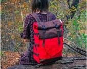 Large Black Leaf Roll Top Backpack,Waterproof Rucksack,Travel Backpack, Laptop Backpack, Hiking Backpack, Durable Woodland Design