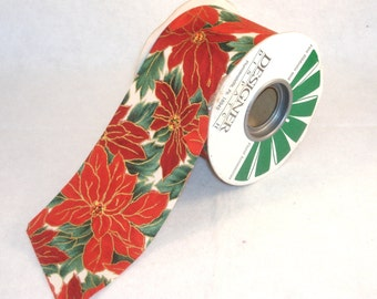 Wide Flat Holiday Poinsettia Ribbon - 75mm Wide - Polyester Fabric Ribbon, Christmas Decoration  - BTY - Destash