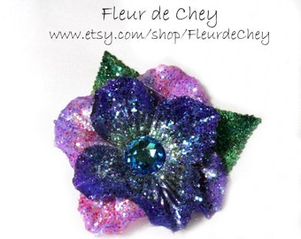 Glittered Midnight Blue & Fuchsia Custom Flower with Crystal Center and Green Leaves on Alligator Hair Clip- Glitter Flower Hair Accessory