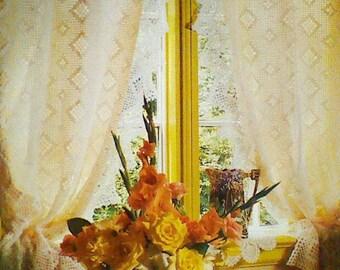 Vintage Fillet Crocheted Curtain Panels Pattern