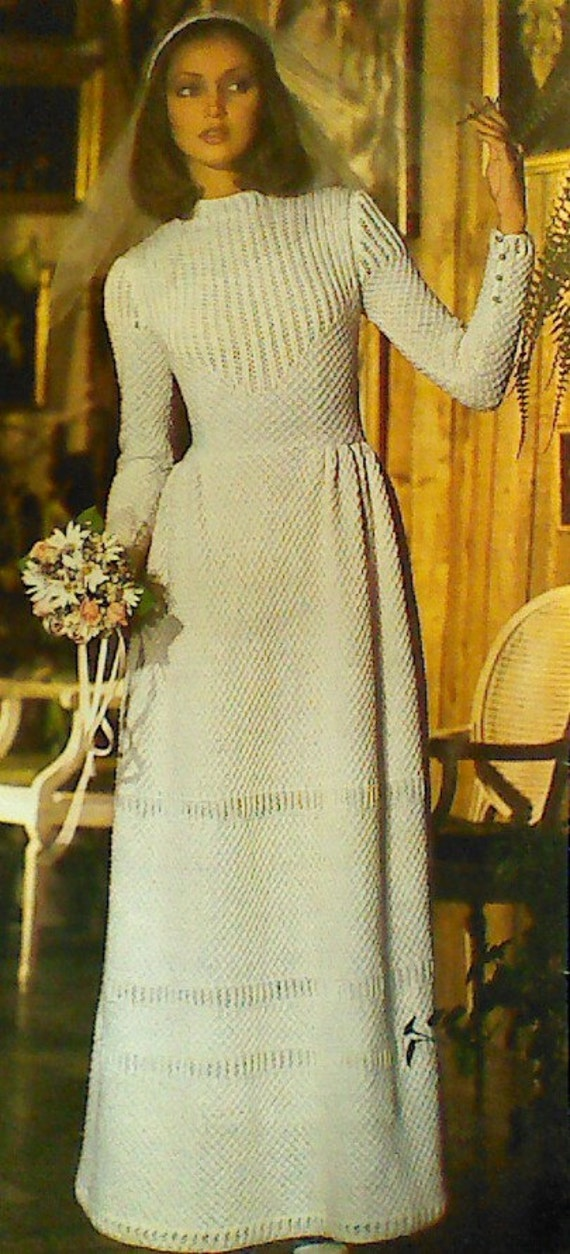 Vintage Knitted Wedding Gown Pattern by MAMASPATTERNS on Etsy