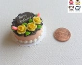 Miniature Cake, miniature clay cake, food figurine, birthday, miniature clay sweet, polymer clay cake, mini, dessert, dollhouse, tiny, rose