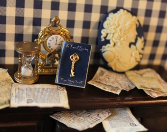 Dollhouse miniature book with victorian key