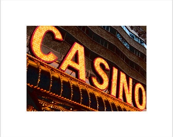 "City Photography- Downtown Las Vegas ""Casino"" Neon Lights Photograph-  5 x 7 matted metallic print"