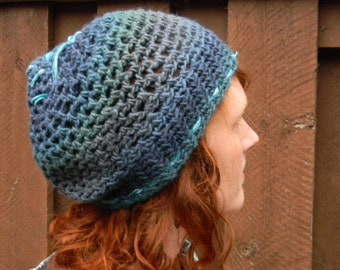 Sunset BLUES-handmade crocheted WOOL slouchy hat w/ stitched in SPIRAL