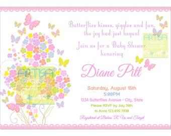 Butterfly Baby Shower Invitation  - Butterflies and Flowers Baby Shower Invitation - Pastel Color Butterfly Baby Girl SHower Invitation