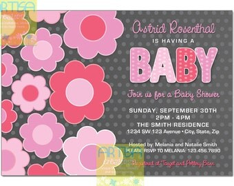 Grey and Pink Flowers baby Shower Invitation - Pink and Grey Flowers Baby Shower Invitation - Pink and Grey flowers polka dots baby shower