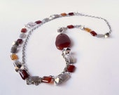 Necklace handmade with red and grey semiprecious agate stones. statement necklace ooak made in Italy.