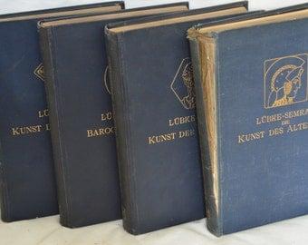 BOOK SALE! Vintage German Hardback Book Set of 4: Lubke-Semrau Art History Books