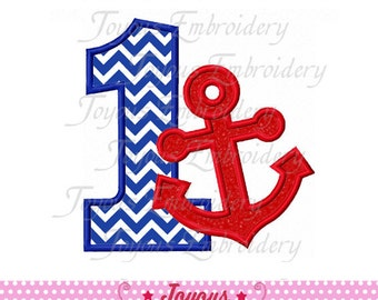 Instant Download Anchor Number 1 Applique Embroidery Design NO:1527