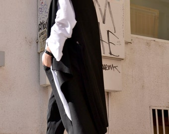 Black Cashmere Sleeveless Coat / Beautiful Loose Vest with Belt / Cashmere  Vest HandMade by AAKASHA A06110