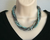 "Mint/grey colored 5-strand Necklace 18 1/2"" (46 1/2 cm) / Earrings 40 mm"