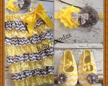 Yellow and Grey Chevron Romper/ Yellow Easter Romper/ Chevron Romper/ Satin Grey Romper/ Birthday/ Pageant/ First Easter/ Photoprop