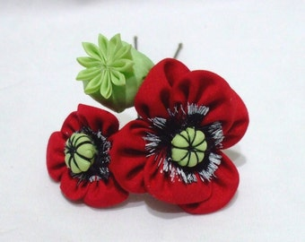 Red field poppies - kanzashi flower hair accessory
