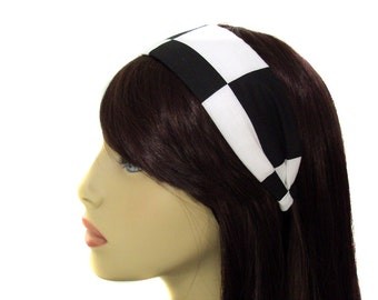 """Black and White Checkerboard Colorblock 2"""" Wide Headband"""