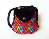 "Colorful Art Deco Bohemian Bag Purse ""Wallis"" Tapestry Bag Tribal Hippie Bag Multicolored Gypsy Bag Ethnic Bag Festival Bag Black Red Goa"