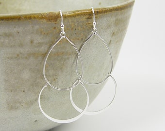 Double Hoop Earring - Large Silver Lightweight Earrings Hammered Silver Circle Simple Modern Jewelry |EB1-40