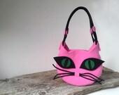 Kitty Cat, womens bag, pink bag, bag and purses, art bag, cat bag,