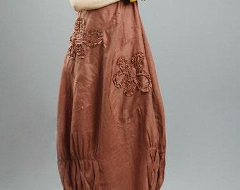 avant-garde 100% natural linen flower applique Langenlook Sun Dress