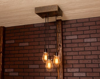 Industrial lighting, Industrial Chandelier, Nickel With Reclaimed Wood and 3 Pendants. R-1212-NC-3