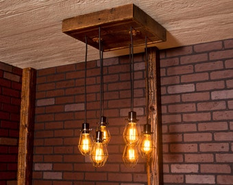 Industrial lighting, Industrial Chandelier, Antique Brass With Reclaimed Wood and 6 Pendants. R-1818-AC-6