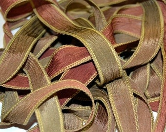 """Sandstone 42 """"hand dyed  silk ribbon// Silk Wrist Wrap  Bracelet Ribbons// Silk Wrap Ribbons// Silk Ribbons//By Color Kissed Silk"""