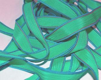 "Kelly Green 42"" hand dyed silk wrist wrap bracelet  ribbon//Yoga wrist wrap bracelet ribbons//Silk wrist wrap ribbon// By Color Kissed Silk"