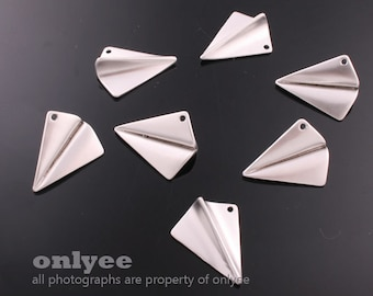 2pcs-17mmX14mmMatt Rhodium plated Brass 3D folded paper plane origami Charms,pendants(K580S)