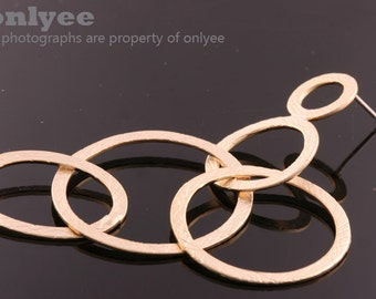 1pair/2pcs-67mmX30mm Matte Gold Plated over Brass Multi-Circle with 925 Sterling Silver Post Earring Findings(K1141G)
