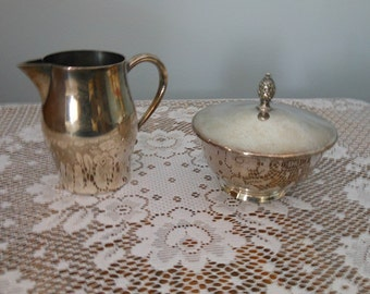 Oneida Silversmiths Paul Revere Reproduction Sugar Bowl with lid and Creamer - Silver plated