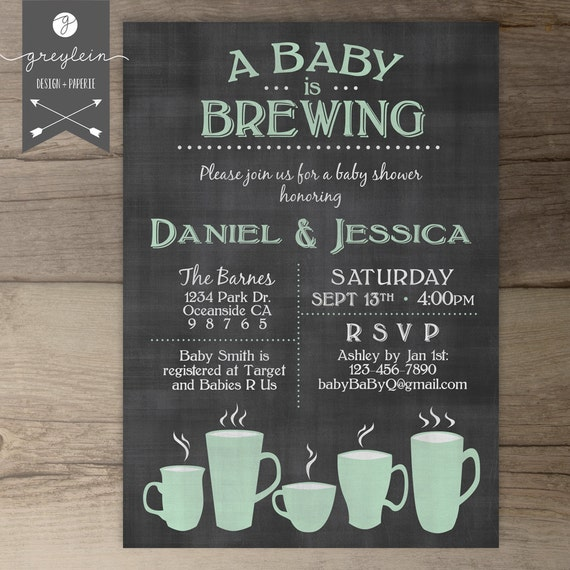 baby is brewing coffee cups baby shower brunch invitation /, Baby shower invitations