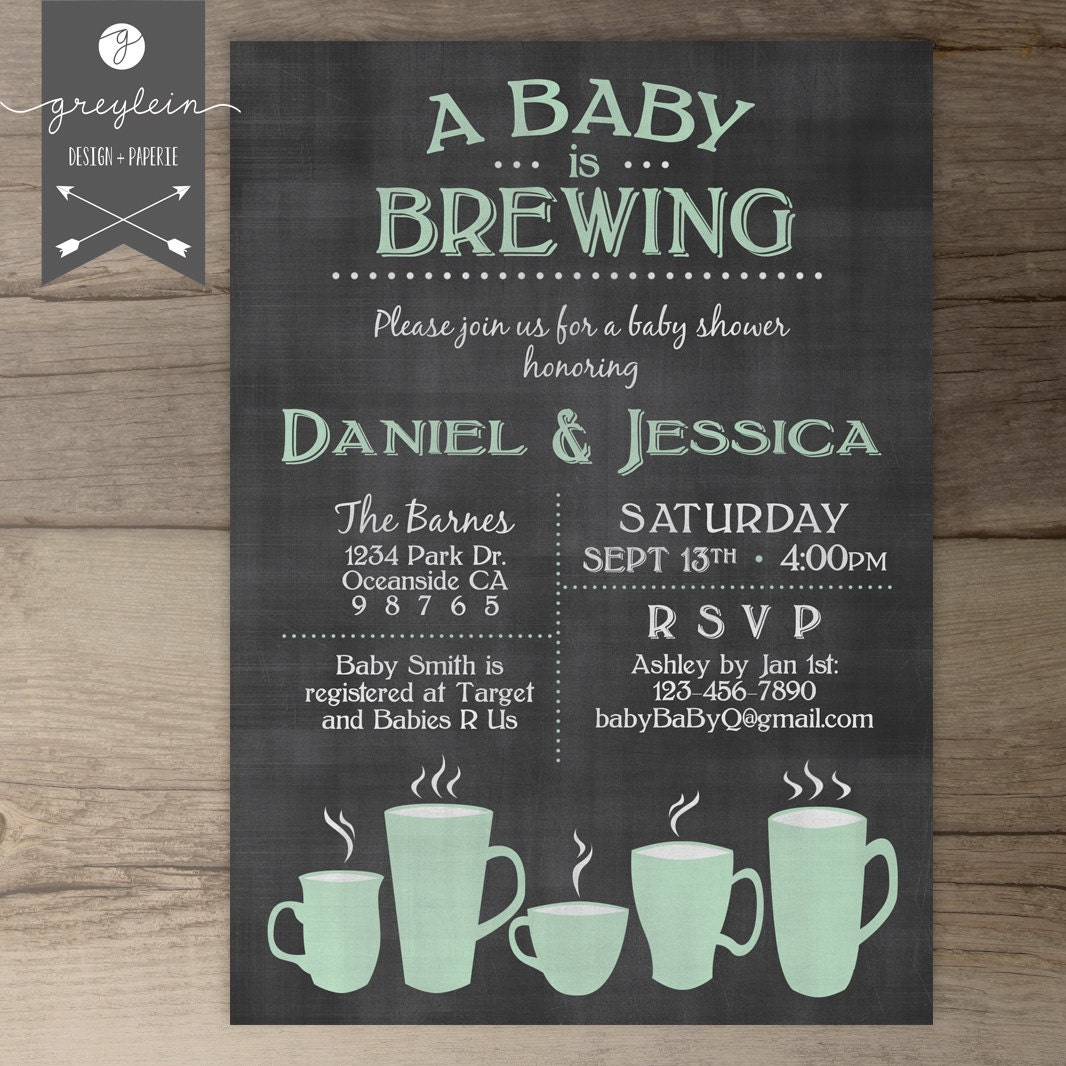 baby is brewing coffee cups baby shower brunch invitation