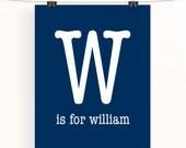 Navy baby boy name nursery print - Letter w is for William - Monogram print - nursery art - typography poster - custom baby wall art