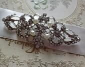 Victorian wedding bridal rhinestone crystals and pearls dress brooch pin