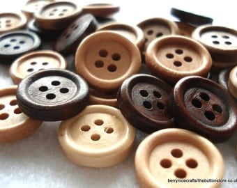 15mm Plain Wood Buttons Mixed Brown Colours Pack of 30 Brown Buttons