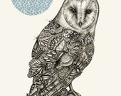The Owl And The Butterfly - Illustration Art Print A3 - Lauren Mortimer
