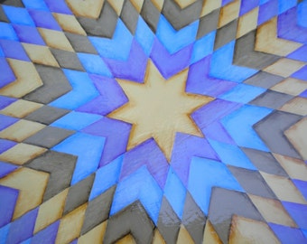 Periwinkle Blue, Lone Star Quilt Pattern, Hexagonal, Side Table, Plant Stand, Beth Baker Artist