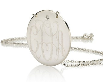 Monogram necklace - 1 inch Personalized Monogram Disc - 925 Sterling silver With Swarovski Stone