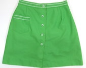 Vintage 60's Green Skort / Scooter Skirt with Attached Shorts Woman's Size 12 High Waisted Retro Hip! Biking 1960's