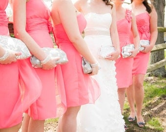 Grey Bridesmaid Clutch Set
