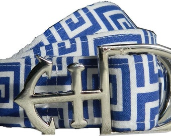Blue and White Nautical Fabric Belt with Anchor D-Ring Buckle