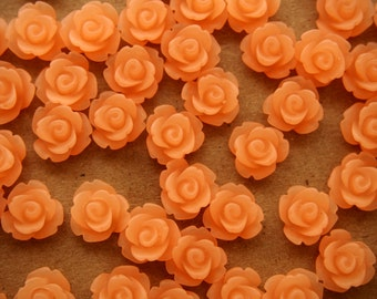 30 pc. Frosted Peach Blush Rose Cabochon 10mm   RES-383