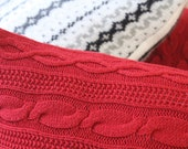 25% off   Red Sweater Pillow   Upcycled Cable Knit Holiday Sweater Pillow