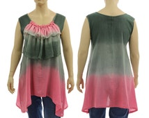 Artsy boho flared tunic top / cotton hand dyed in grey with pink / with a large ruffle / for plus sized women L-XL, US size 14-18